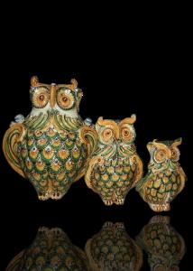 gufi in ceramica di caltagirone
